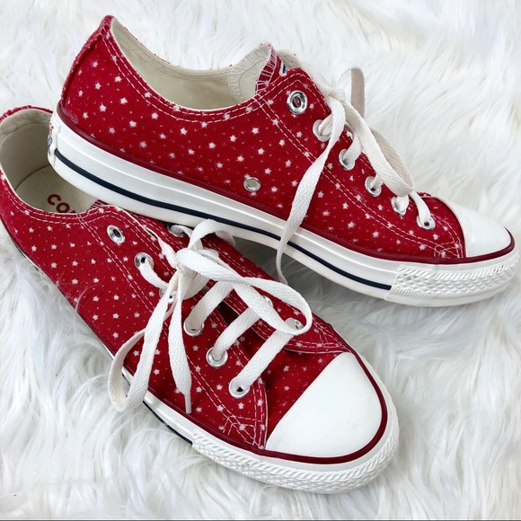 Converse Shoes With And Dots Sz 7 Converse Silver Red